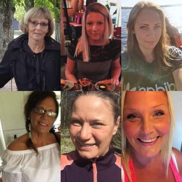 Översta raden: Ulla, Carola, Malin - Nedersta raden: Pia, Annika, Maria