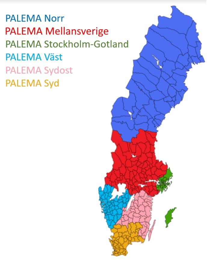 PALEMA regionala avdelningar